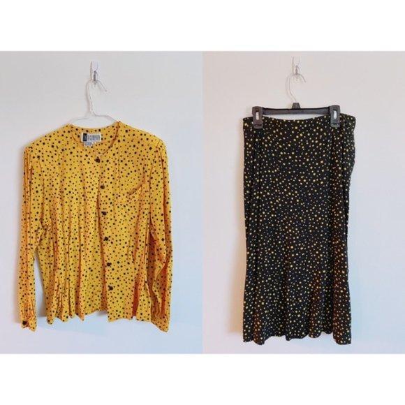 SK & Company Tops - 3/$20 Vintage Yellow Black 2 Piece Skirt Shirt Set